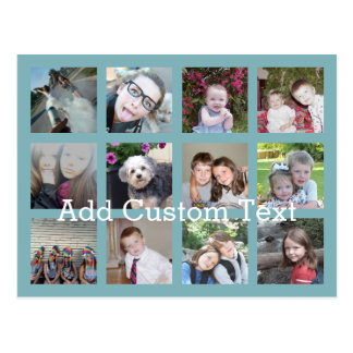 12 Photo Collage with Soft Blue Background Postcard