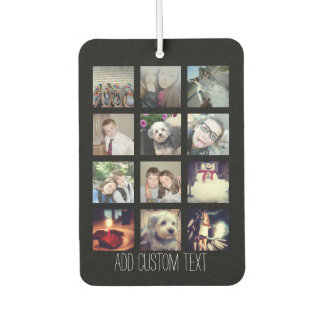 12 Photo Instagram Collage with Black Background Car Air Freshener