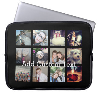 12 Photo Instagram Collage with Black Background Laptop Sleeves