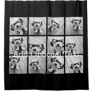 12 Photo Instagram Collage with Black Background Shower Curtain