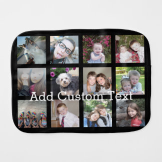 12 Photo Instagram Collage with Black Background Burp Cloth