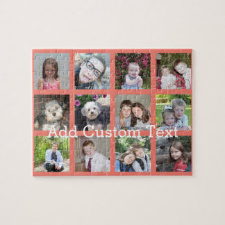 12 Photo Instagram Collage with Coral Background Puzzles