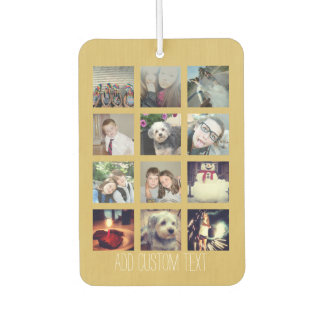 12 Photo Instagram Collage with Gold Background Car Air Freshener