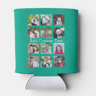12 Photo Instagram Collage with Green Background Can Cooler