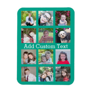 12 Photo Instagram Collage with Green Background Rectangular Photo Magnet
