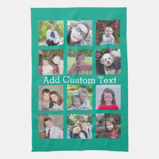 12 Photo Instagram Collage with Green Background Tea Towel