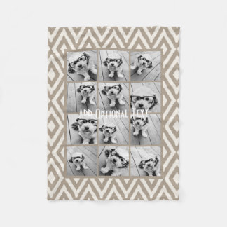 12 Photo Instagram Collage with Khaki Ikat Pattern Fleece Blanket