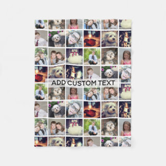 12 Photo Instagram Collage with Text Fleece Blanket