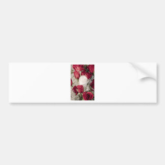 12 red 1 white valentine rosebuds collection bumper sticker