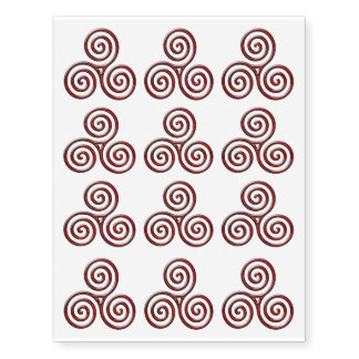 12 Red Metalic Triple Spiral - Temp Tattoo