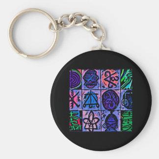 12 Reiki n Karuna Healing Signs Blue V151 Basic Round Button Key Ring