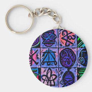 12 Reiki n Karuna Healing Signs Blue V15 Basic Round Button Key Ring
