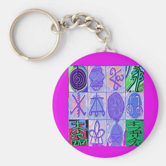 12 Reiki n Karuna Reiki Signs - Pink Border Basic Round Button Key Ring
