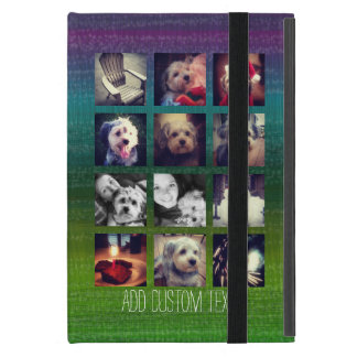 12 square instagram photo collage colorful design iPad mini cover