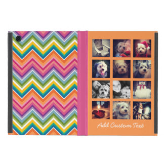 12 square photo collage bright chevron pattern iPad mini cover