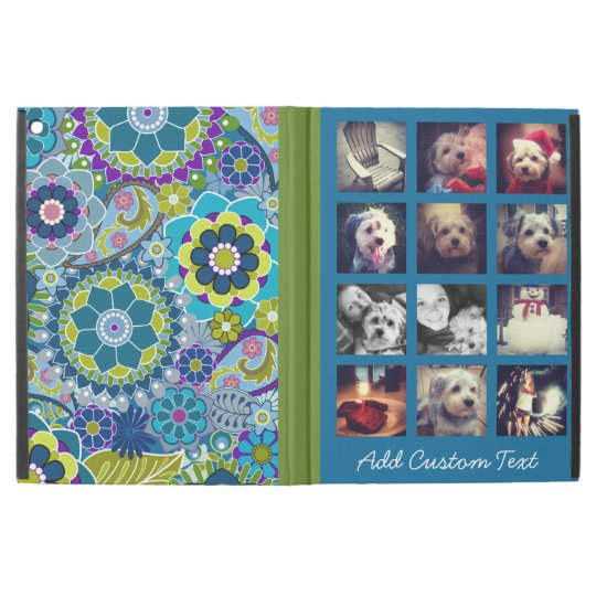 12 square photo collage colourful floral pattern iPad