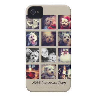 12 square photo collage with taupe background iPhone 4 case