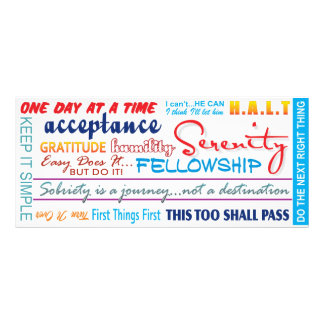 12 step recovery slogans bookmark full colour rack card