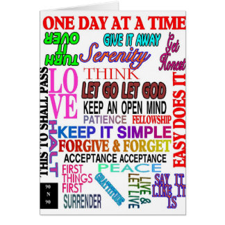 12 STEP SLOGANS IN COLOR NOTE CARD