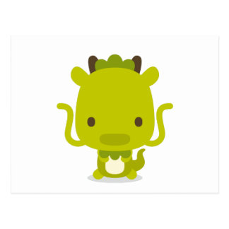 12 support two head body front illustration dragon postcard