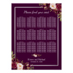 12 Tables Plum Purple Floral Wedding Seating Chart