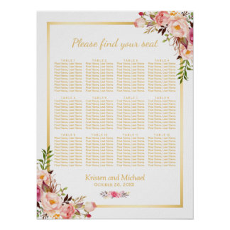 12 Tables Wedding Seating Chart Chic Floral Gold Poster
