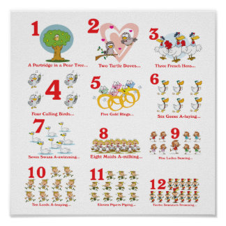 12 twelves days of christmas complete posters