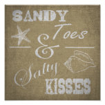 """12"""" x 12"""" Poster - Sandy Toes & Salty Kisses"""