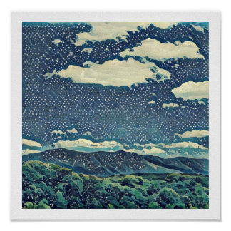 "12"" x 12"" Virginia Mountains - Curls and Dots Poster"