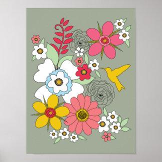 12 x 16 Wildflower Garden Hummingbird Poster