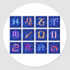 12 Zodiac signs and the constellations Classic Round Sticker