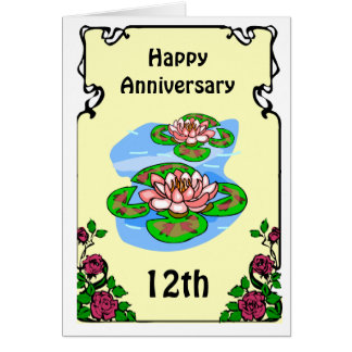12th anniversary card -water lilies