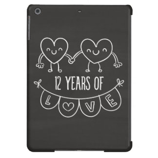 12th Anniversary Gift Chalk Hearts Cover For iPad Air