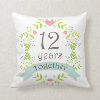 12th Anniversary Gift Throw Pillow