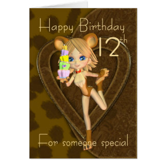 12th Birthday card, Cutie Pie Animal Collection Card