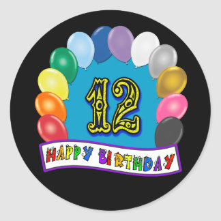 12th Birthday Gifts with Assorted Balloons Design Round Sticker