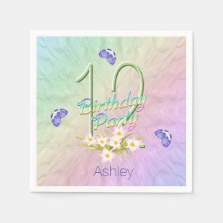 12th Birthday Party Butterflies and Wildflowers Disposable Serviette