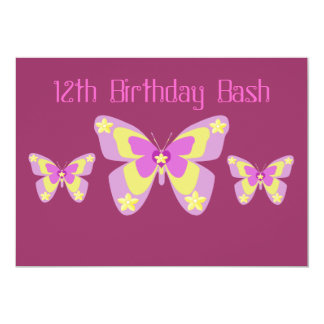 12th Birthday Party Invitation, Butterflies 13 Cm X 18 Cm Invitation Card