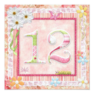 12th birthday party scrapbooking style 13 cm x 13 cm square invitation card