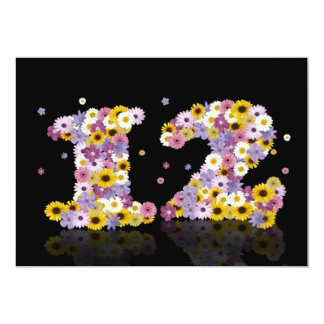 12th Birthday party, with flowered letters Custom Invites