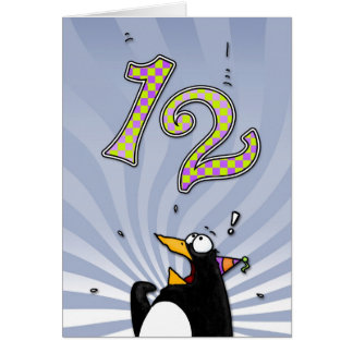 12th Birthday - Penguin Surprise Card