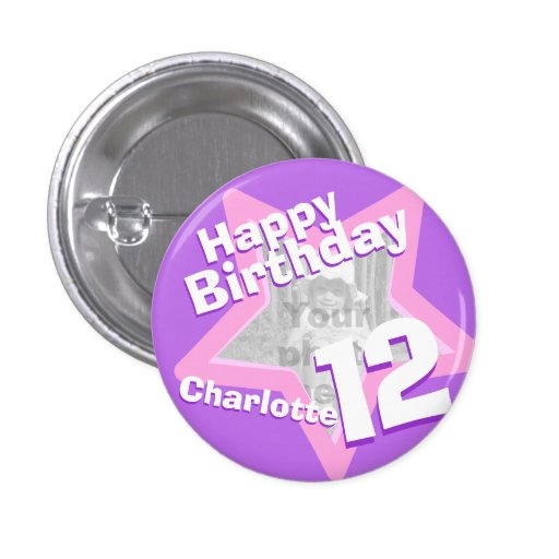 12th Birthday photo fun purple pink button/badge