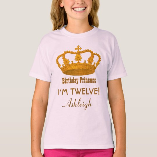 12th Birthday Princess Custom Name Royal Crown A10