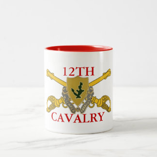 12TH CAVALRY MUG WITH DUI AND BRANCH INSIGNIA