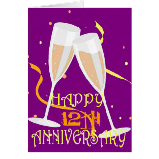 12th wedding anniversary champagne celebration card