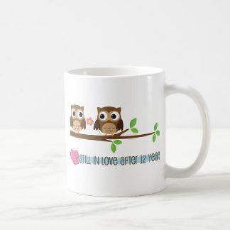 12th Wedding Anniversary Owls Coffee Mug