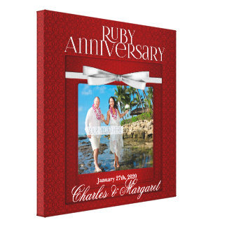 12x12 40th Ruby Wedding Anniversary Custom Photo Canvas Print