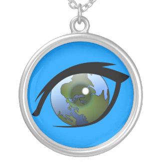 1312287950_Vector_Clipart earth eye icon logo Round Pendant Necklace