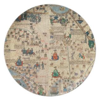 131-0058260/1 Catalan Atlas: Detail of Asia, by Ja Dinner Plates