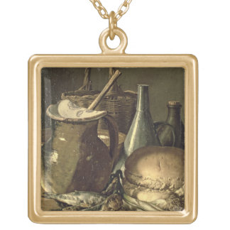 131-0058519/1 Still Life with Fish, Leeks and Brea Gold Plated Necklace
